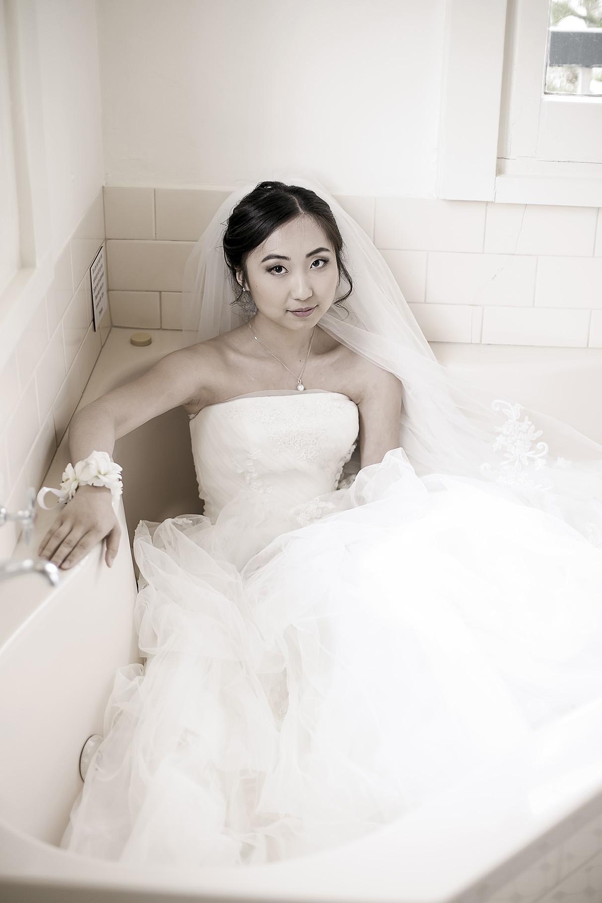 Sepia Bridal Preparation photo in spa bath 1