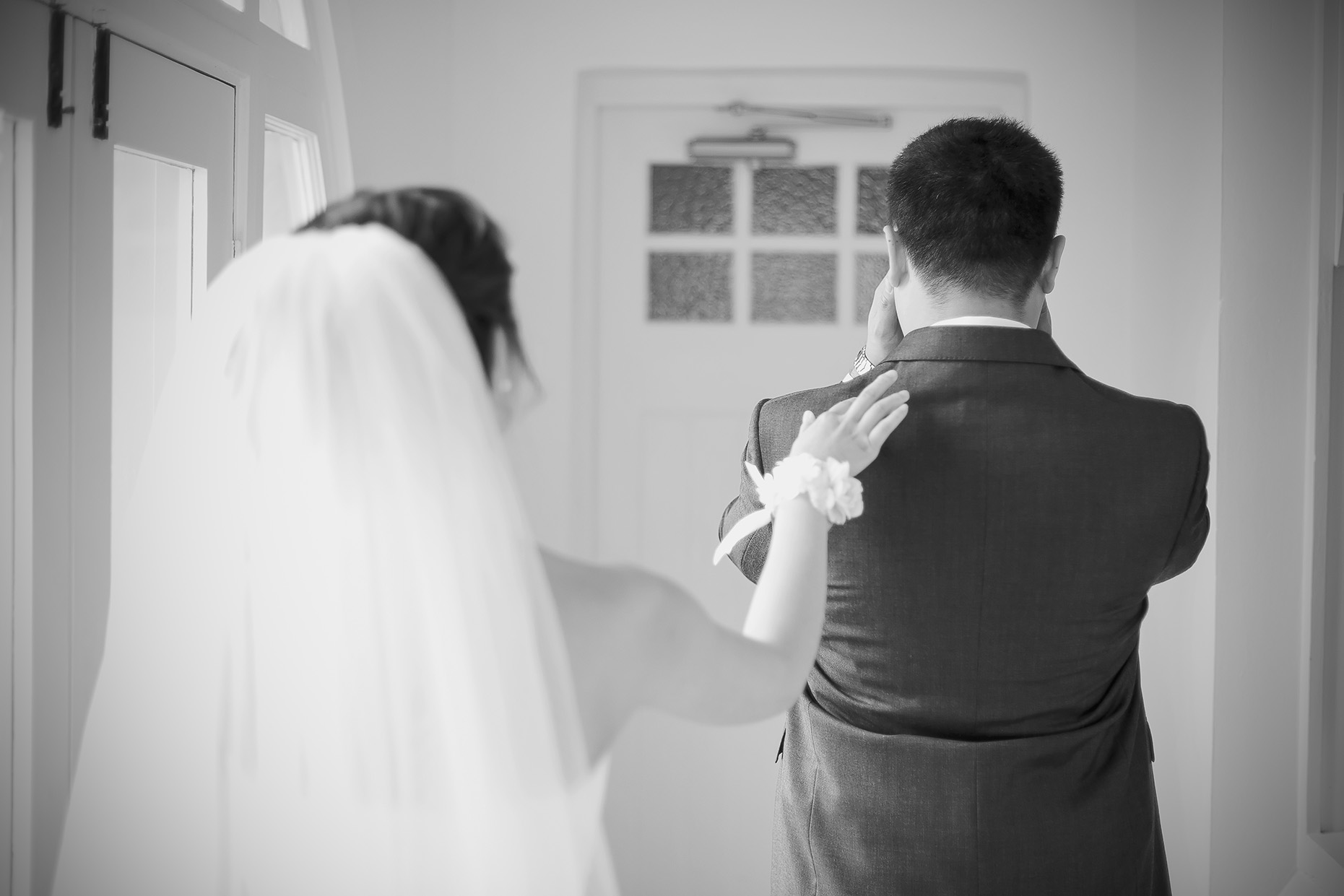 Bride Reveal Black and White Film Style Photo 3