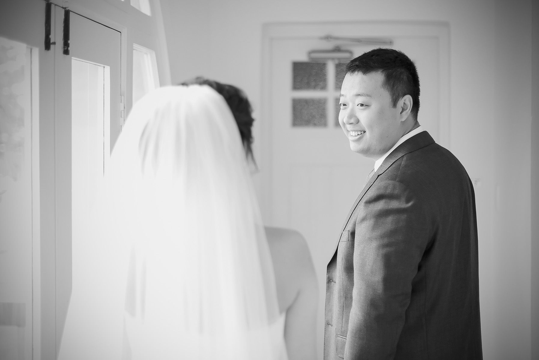 Bride Reveal Black and White Film Style Photo 4
