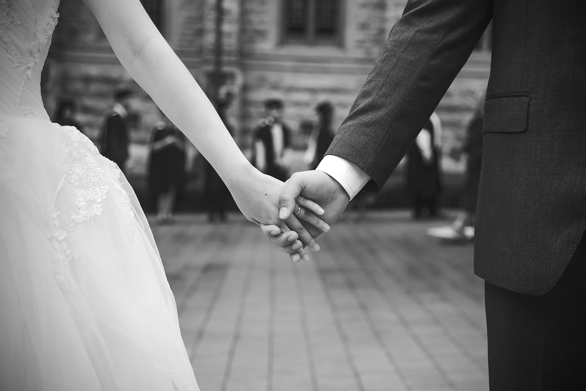 Adelaide University Wedding Portraits Black and white film style holding hands 2