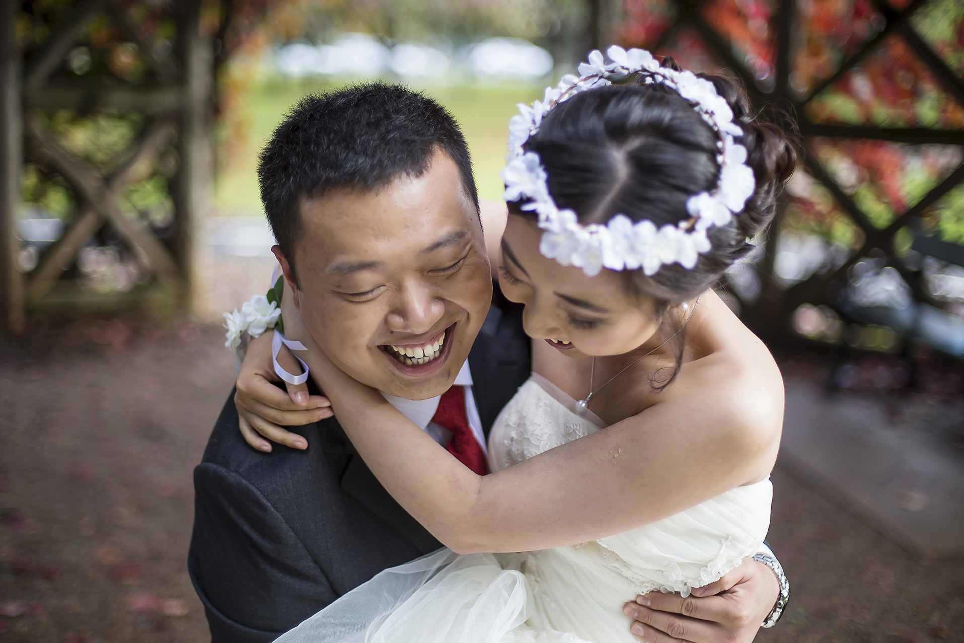 Adelaide Japanese Garden Wedding Portrait Laughing Couple