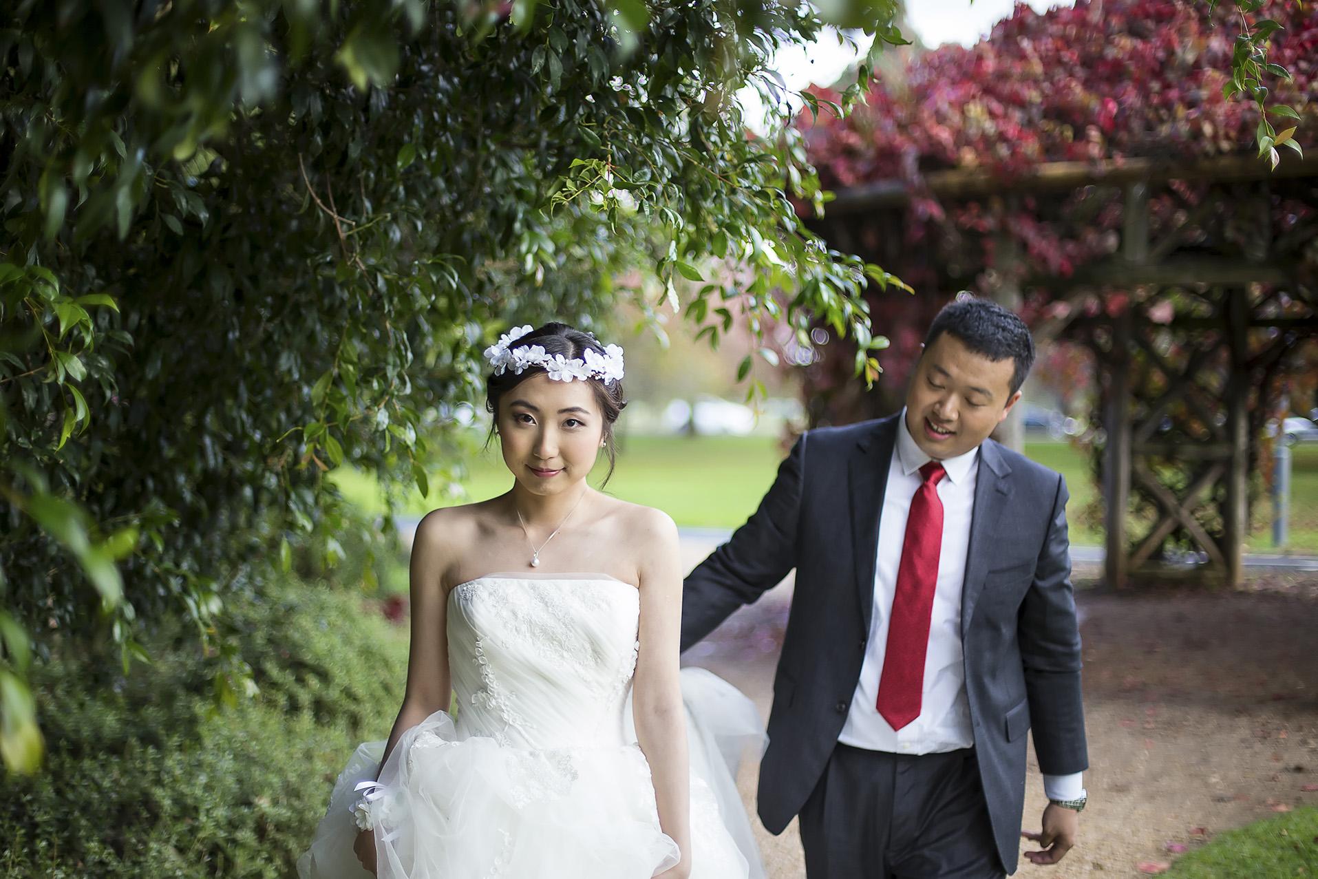 Adelaide Japanese Garden Wedding Portrait Couple Walking 1