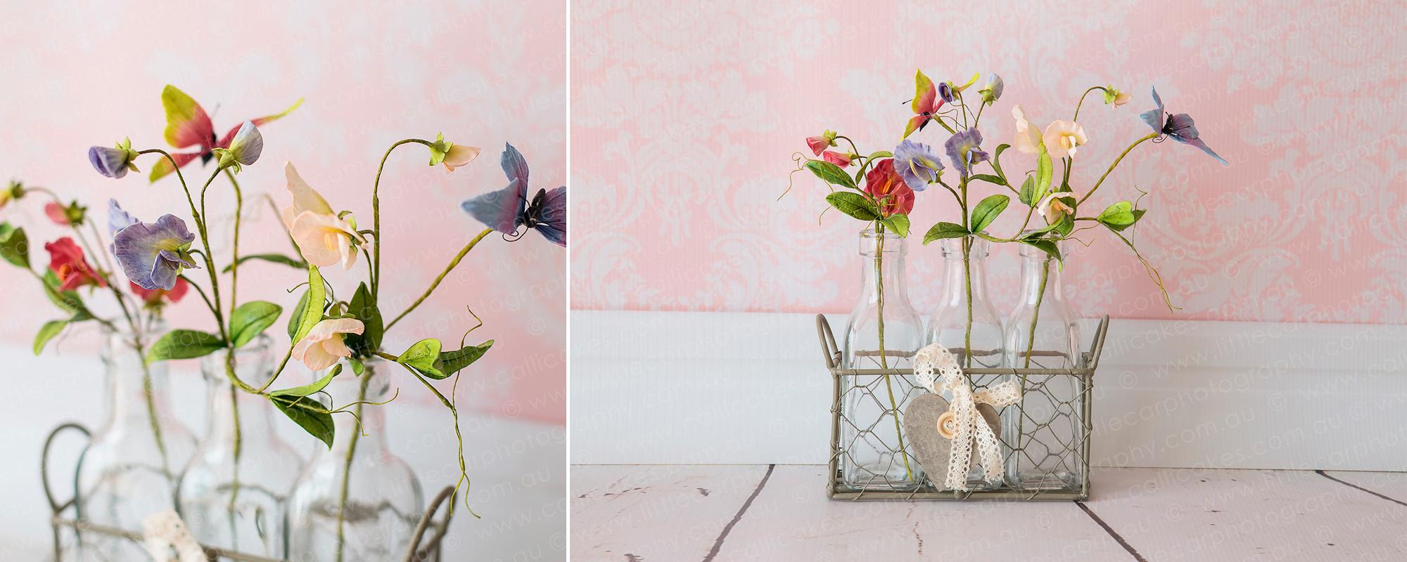 3 Wedding Photography of Sugar Art butterflies & flowers in rustic milk jugs.jpg