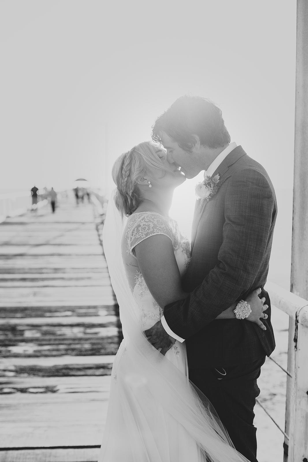 Adelaide Beach Wedding 68 Henley Jetty Wedding Photography Black and White.jpg