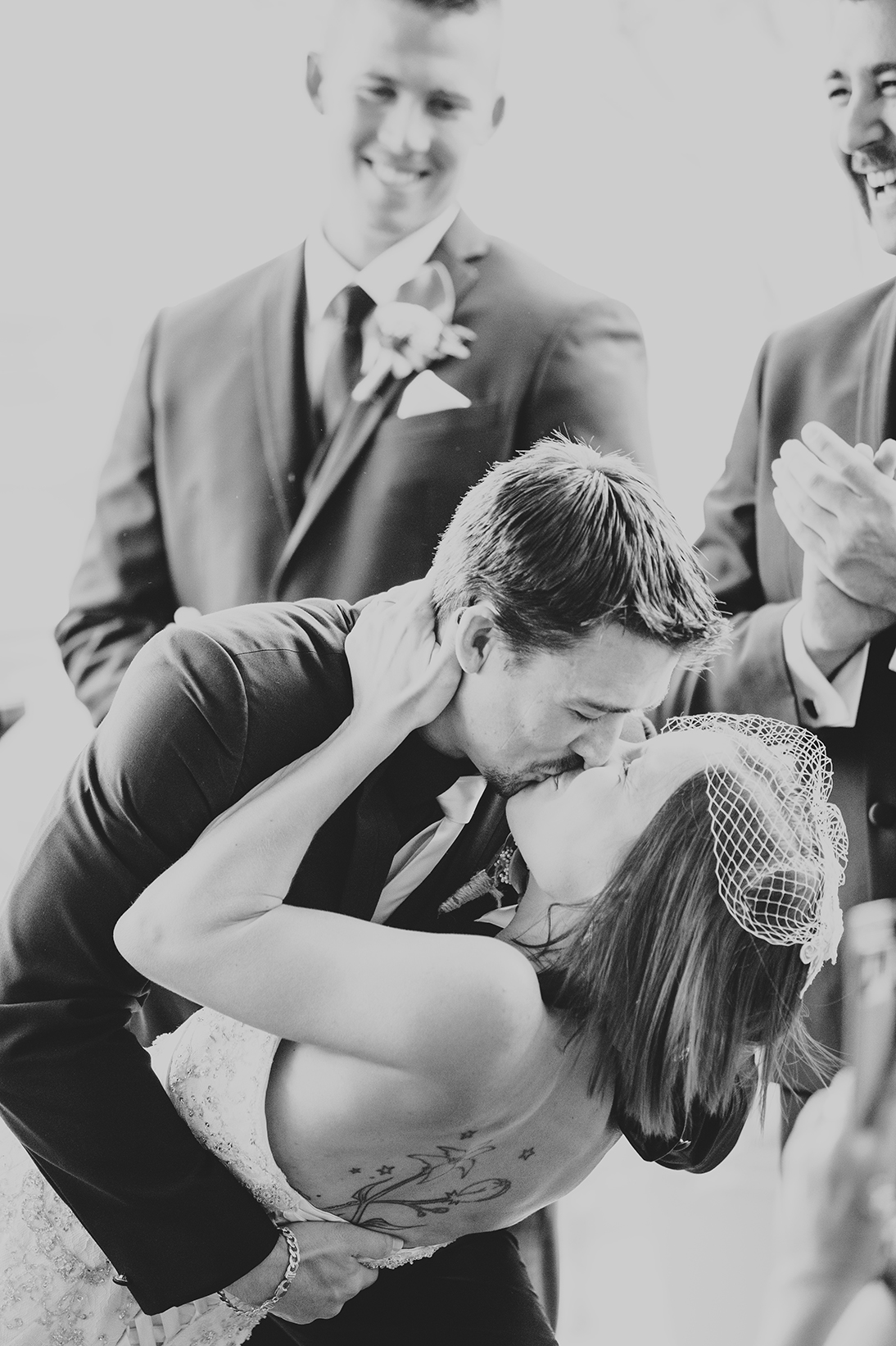 Majestic Rooftop Adelaide Wedding Photography 06 Black & White First Kiss.jpg