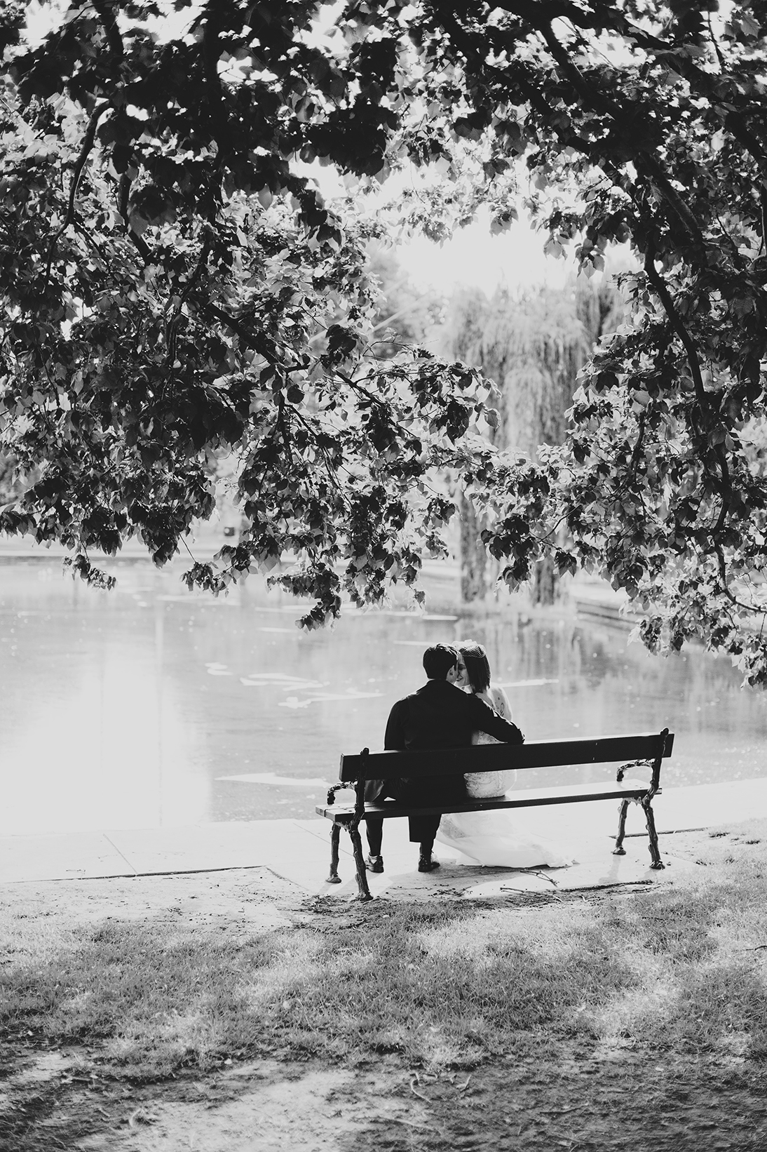 Rymill Park Adelaide Wedding Photography 02 Black & White Bench.jpg