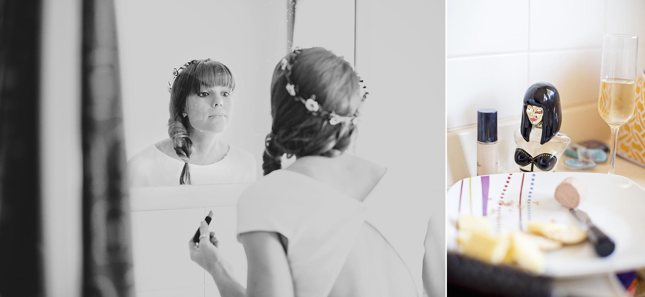 Victor Harbour Wedding Photography 002 black white bride preparation.jpg