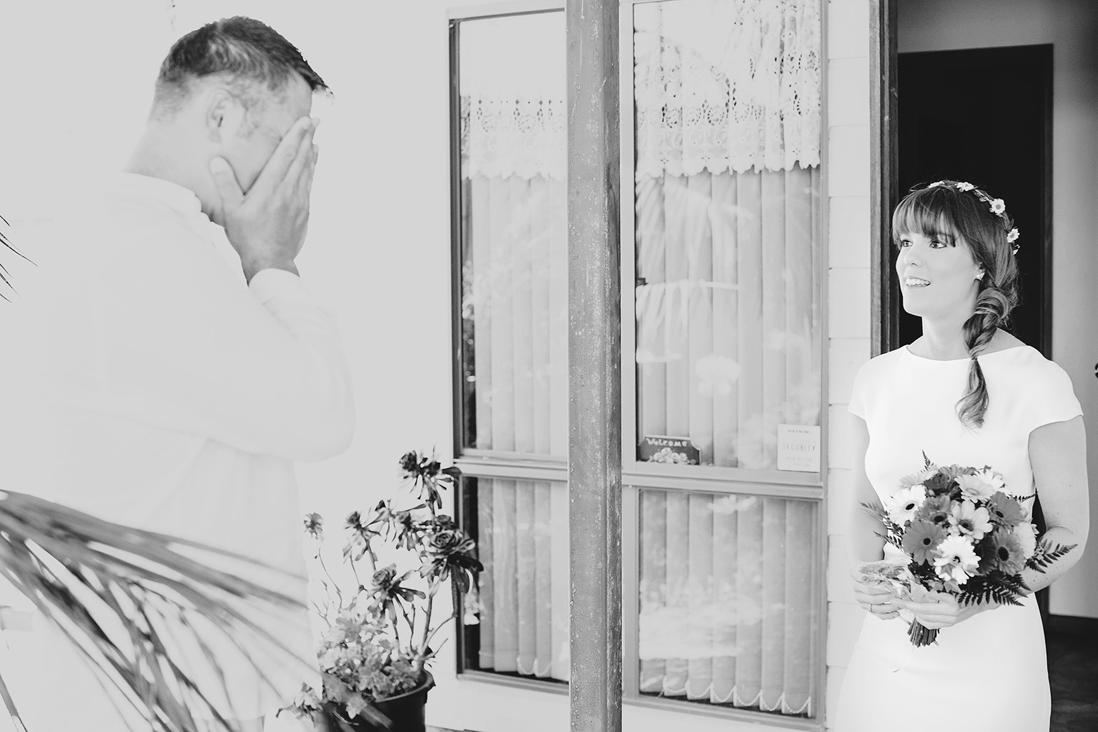 Victor Harbour Wedding Photography 010 black white bride reveal.jpg