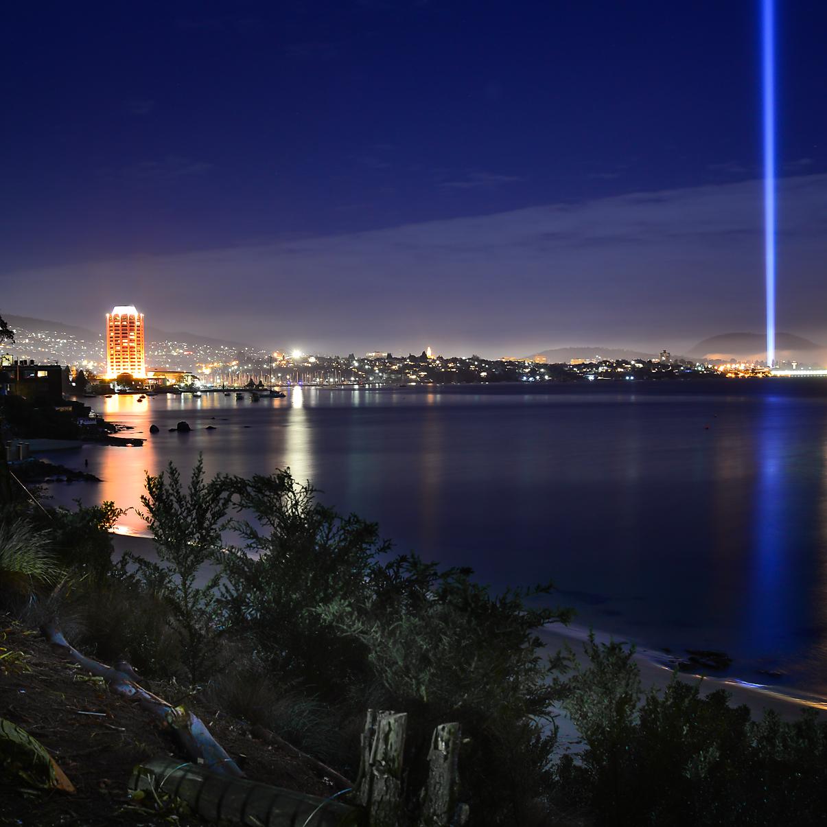Wrest Point & Spectra Light Tower - DARK MOFO 2013 - Tasmania - Wilkography