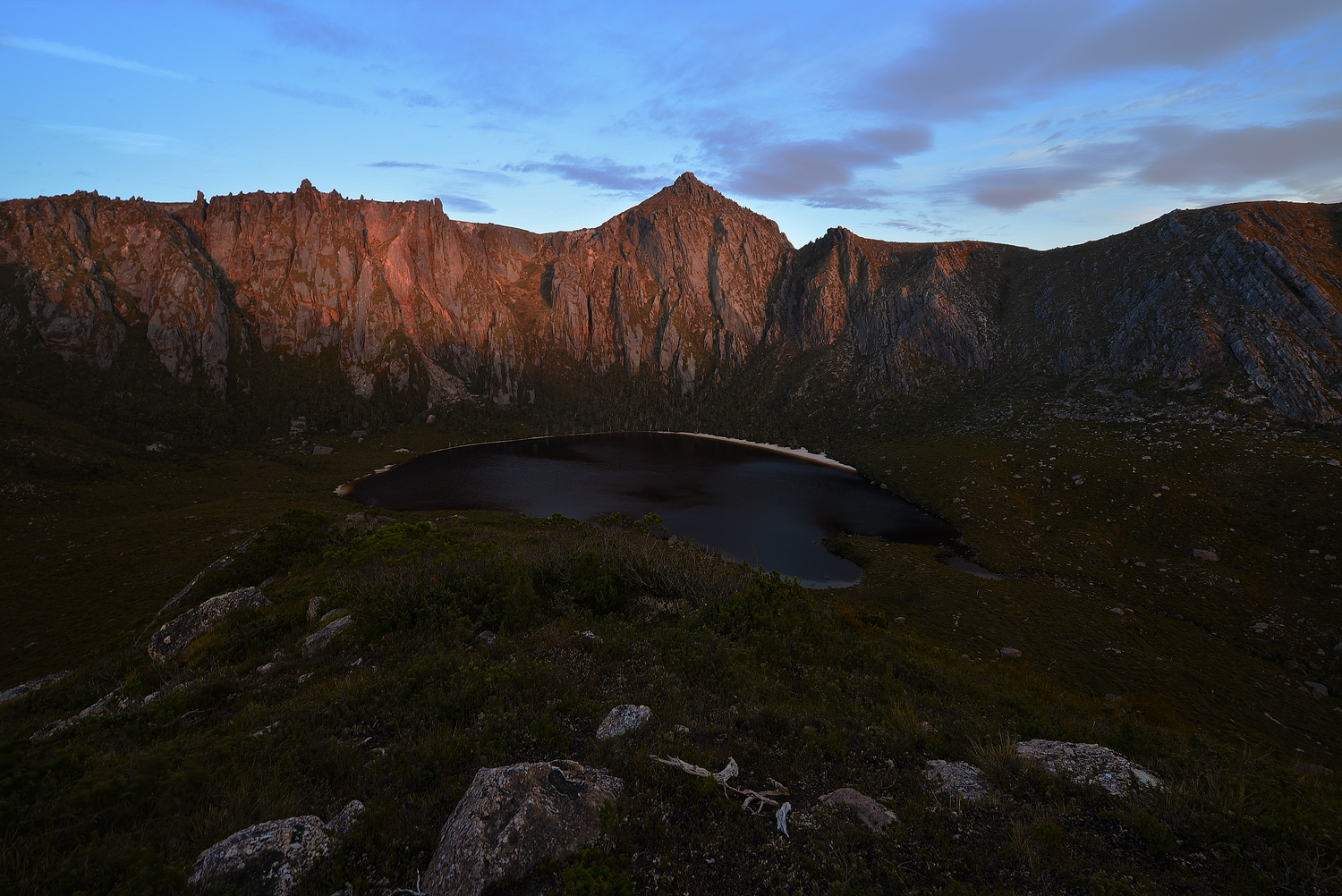 Sunrise On The Crater - Lake Rhona - South West Tasmania - Wilkography