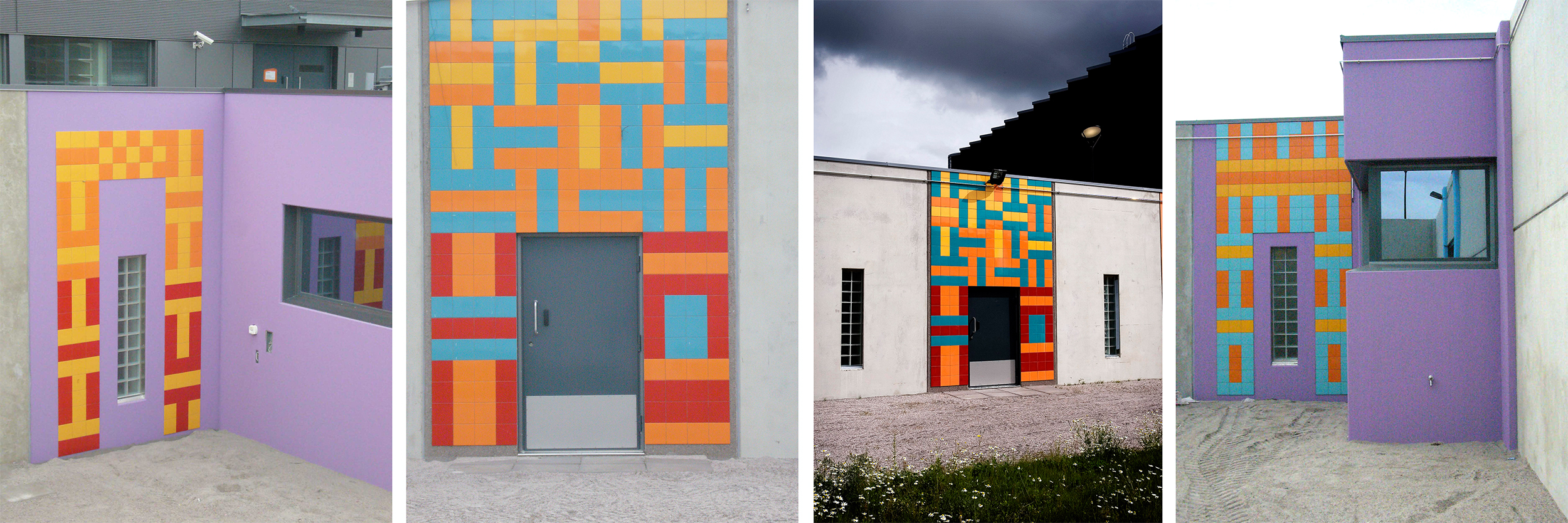 Material: Tile mosaics and painted concrete in 9 different courtyards.