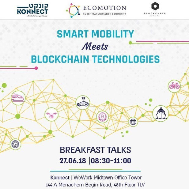 """One of the challenges of our eagerly awaited Hackathon """"Blockchain for Social Impact"""" is focused on """"Autonomous Systems"""". #BlockchainIsrael has the great privilege to be invited to talk about """"The Blockchain Inception for Smart Mobility"""" at """"Smart Mobility meets Blockchain Technologies"""" on June 27th, 2018.  Blockchain based #infrastructures can be used to provide the means for autonomous vehicles to perform activities inherent to innovative systems such as wireless charging, fast line parking, embarked digital wallets with a #distributedledger of profit and loss statements publicly available on the ledger to all involved parties to assess, in real-time, the profitability of that fleet.  An event by#EcoMotion Israel, Konnect by the Volkswagen Group and @blockchainisrael Israelto present you groundbreaking, innovative platforms that benefit every stakeholder across the #smartmobility industry."""