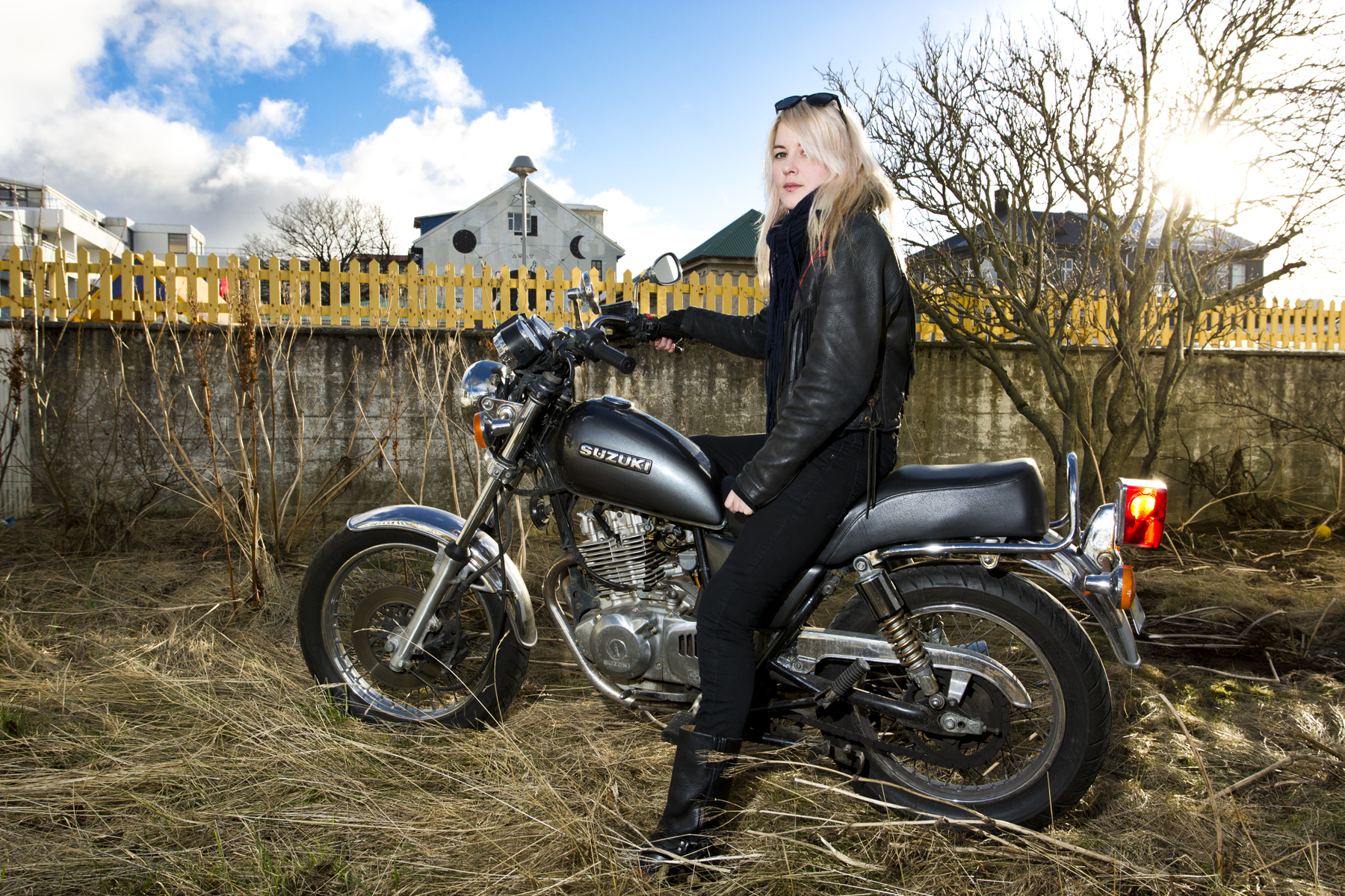Karlotta Laufey, biker and lead guitarist for the band Vicky