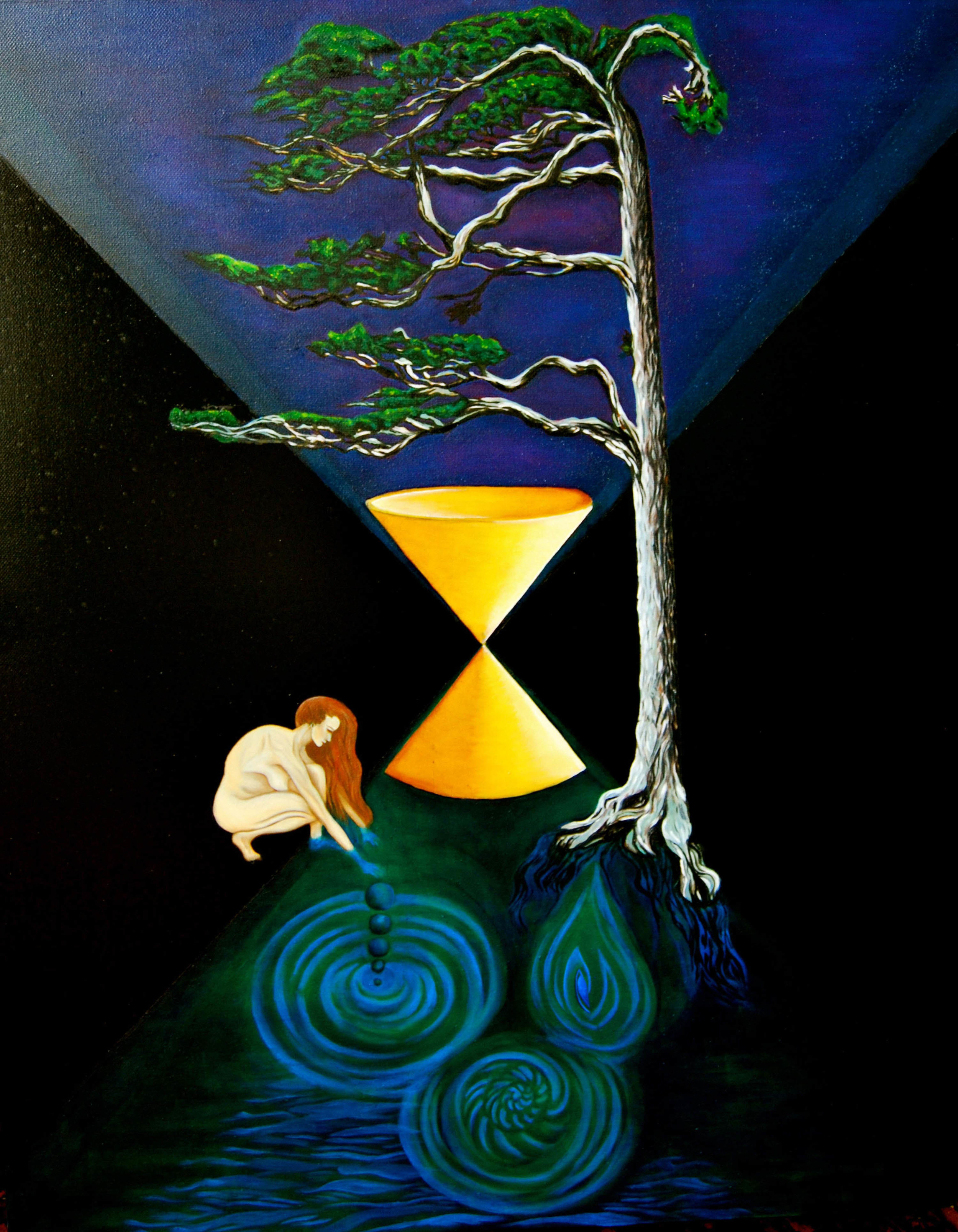 Time & the Weeping Woman. The River beneath the Kanuka Tree, 2013. Oils with Acrylic background. 120cm by 80cm.jpg