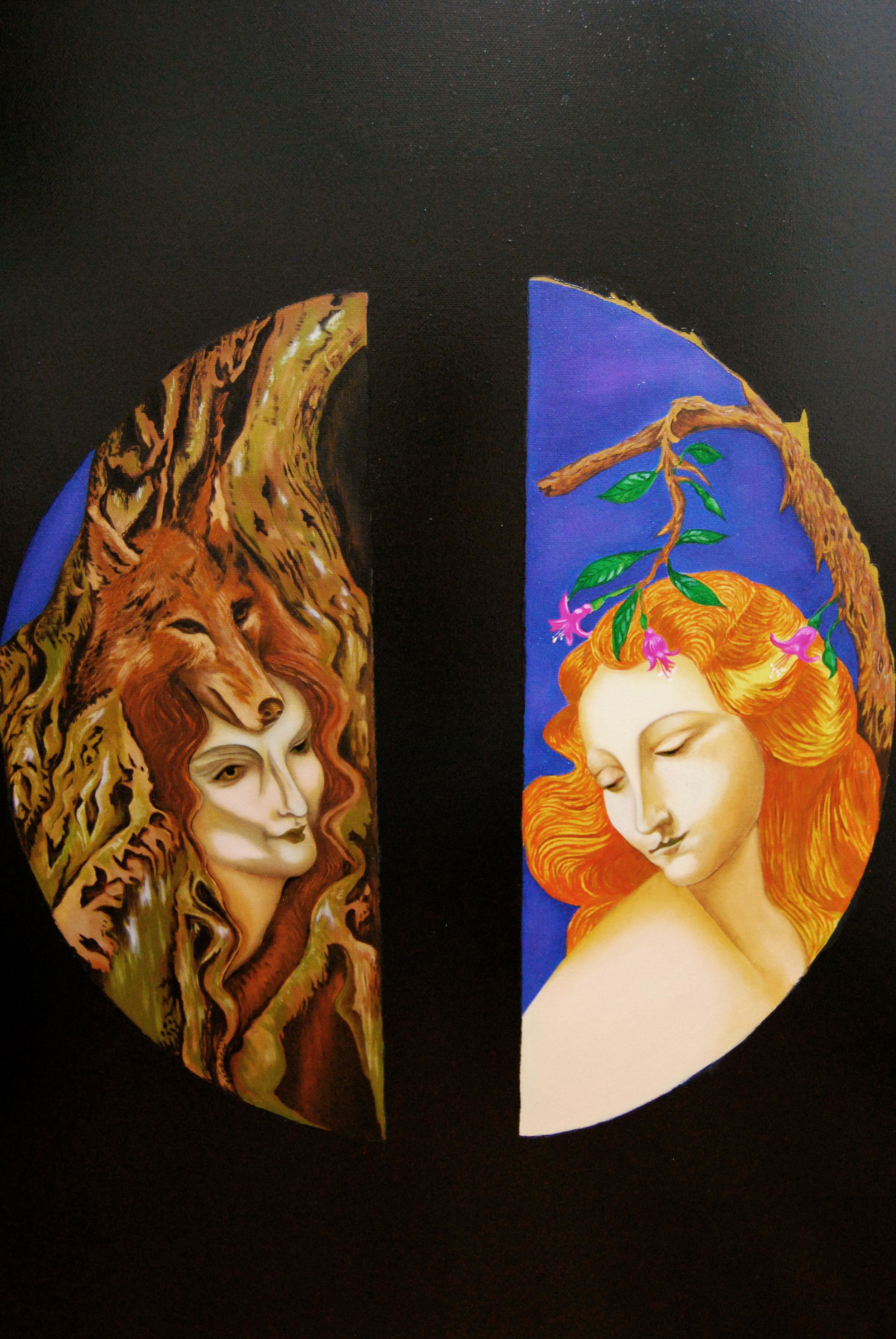 The dual nature. Kahiketa swamp forest & wild woman. Maiden & the Tree fuchsia. 2013, Oils with Acrylic background. 120cm by 80cm.jpg