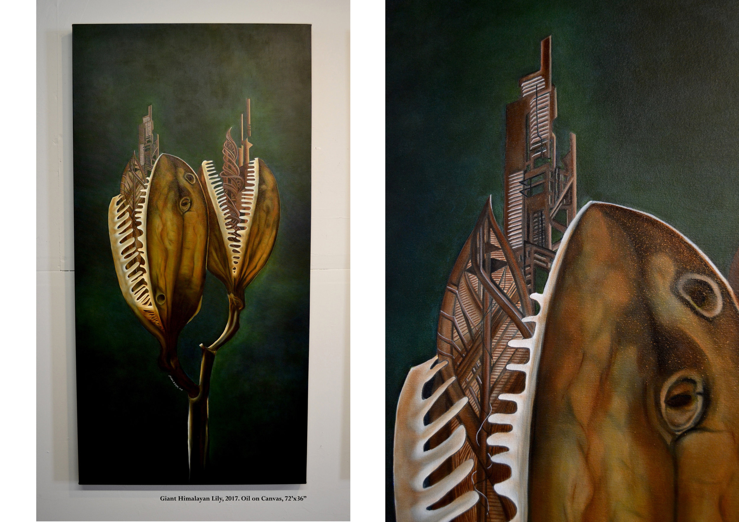 Architecture & Biomimicry Series #Giant Himalayan Lily  2017  Oil on Canvas  72'x36""