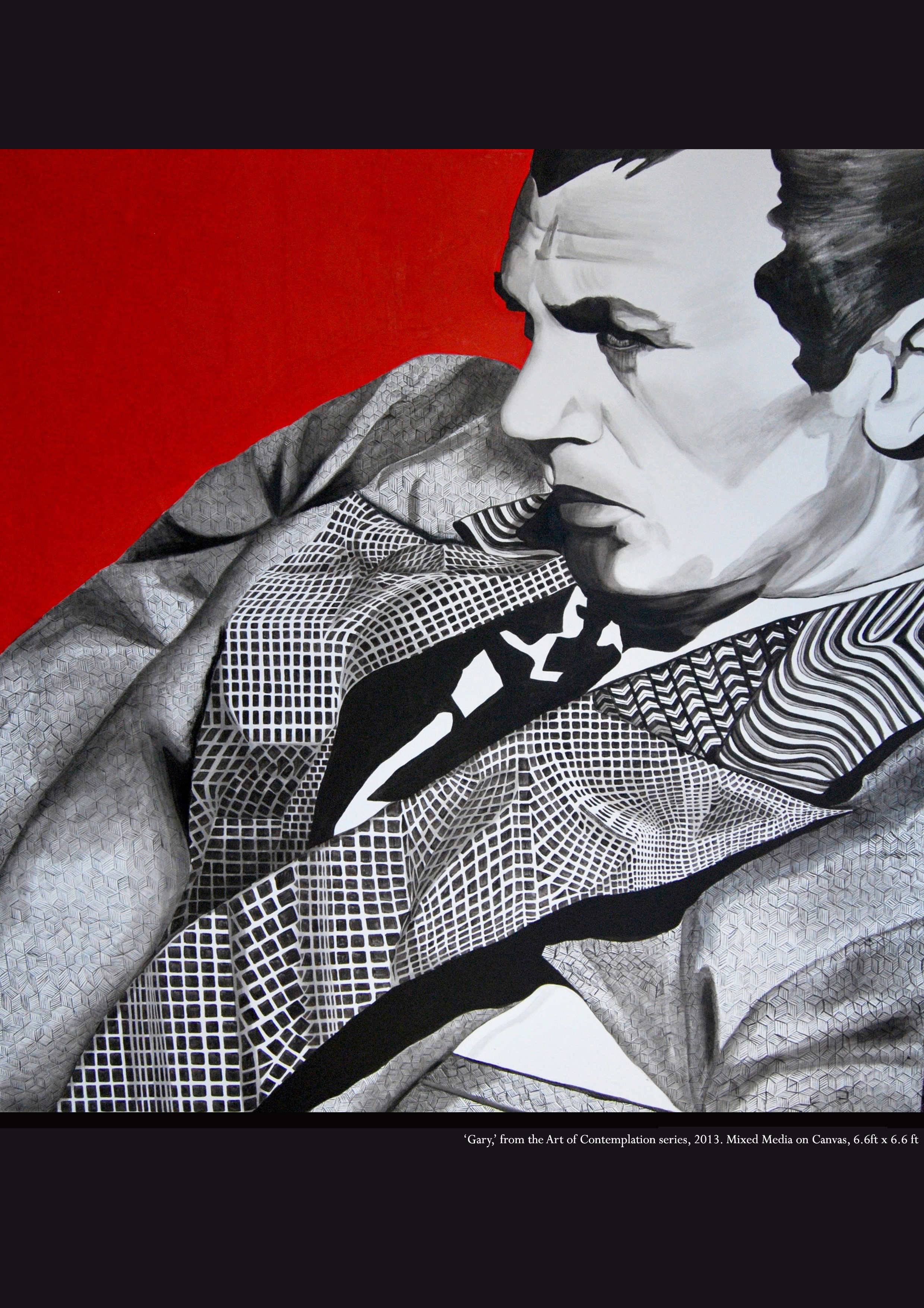 The Art of Contemplation Series #Gary Cooper   2013  Mixed Media  6.6ft x 6.6ft