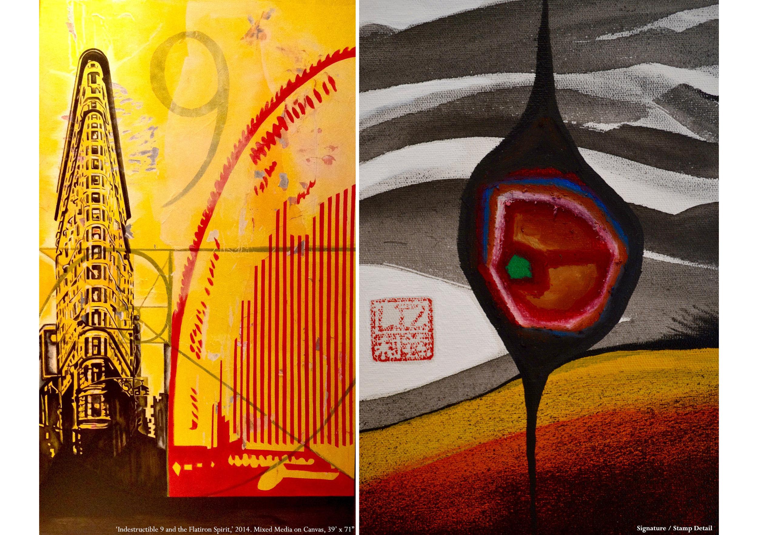 "Philip Johnson Series #Indestructible Nine and the Flatiron Spirit  2014  Mixed Media  39'x71"""