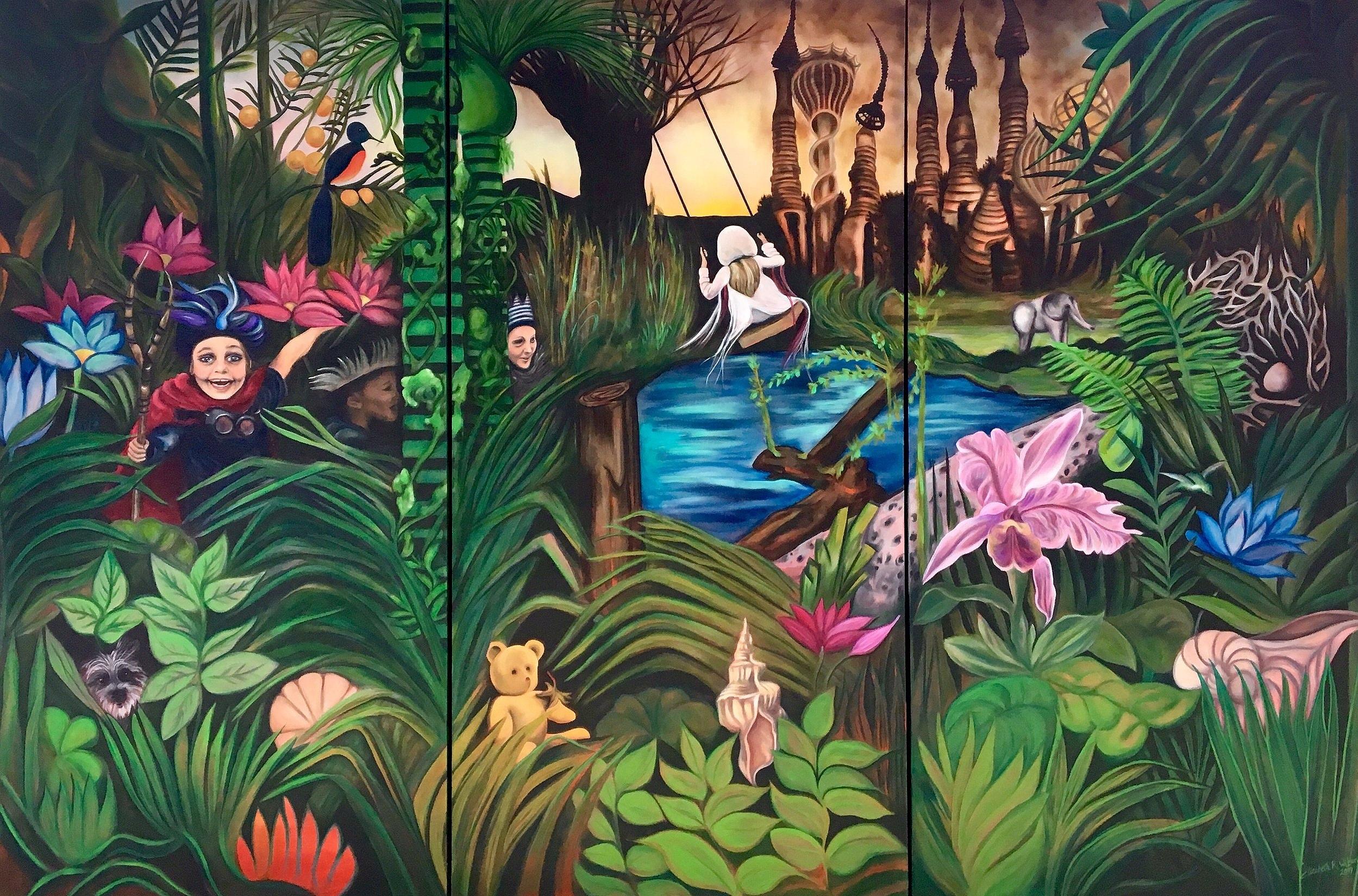 'Rewilding,' by Elizabeth R. Wilson, 2019. Oil on Canvas, Triptych 9 x 6 ft