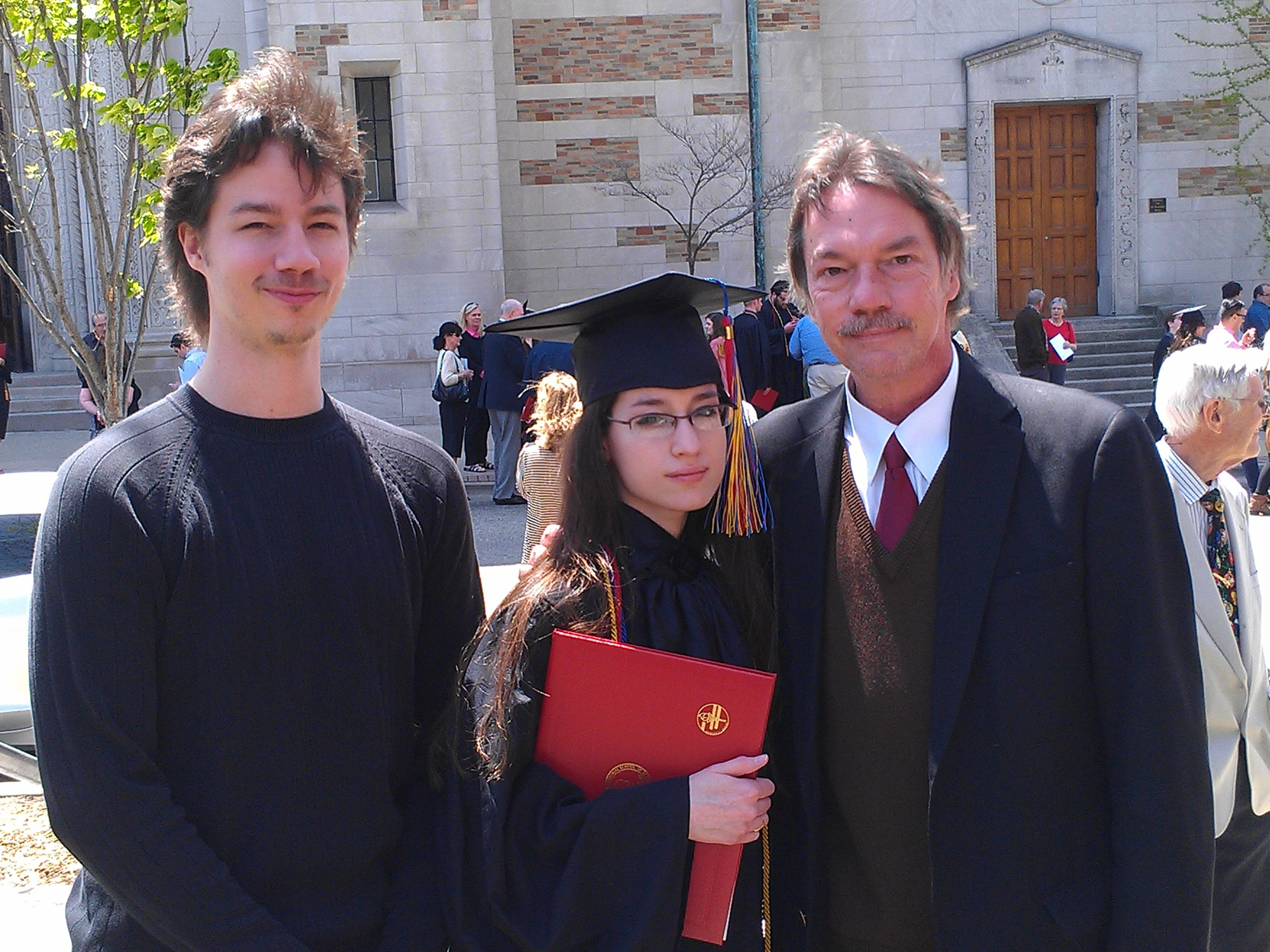 With my dad and brother--who apparently began sporting a Mohawk in the gust of wind...