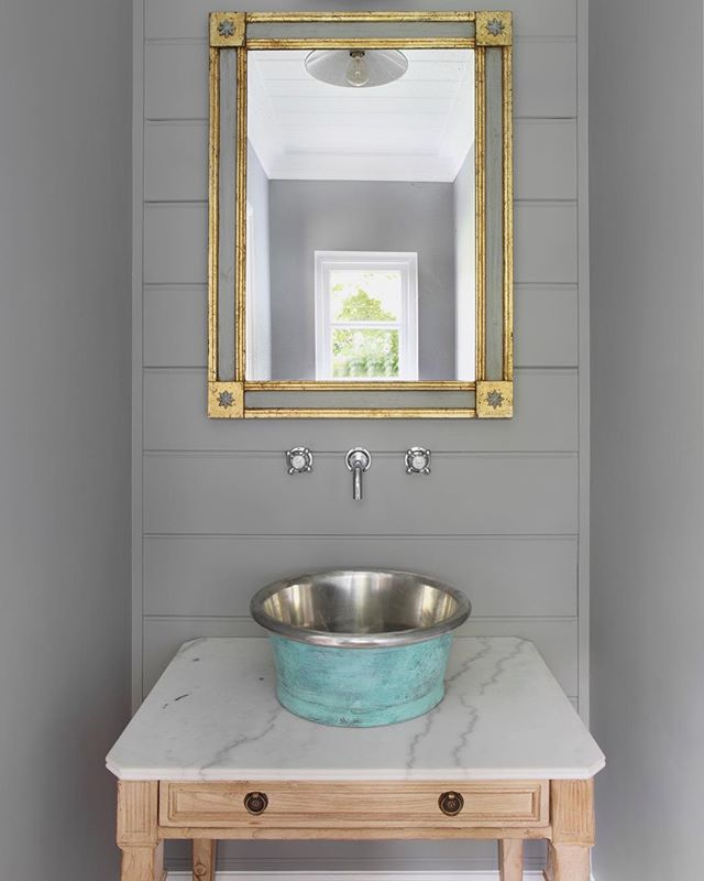 Downstairs WC at The Stable Yard... custom vanity unit I sourced with a verdigris sink and bespoke mirror. #interoirdesign #tomhouseproperty #bathroomdesign #eclecticdecor