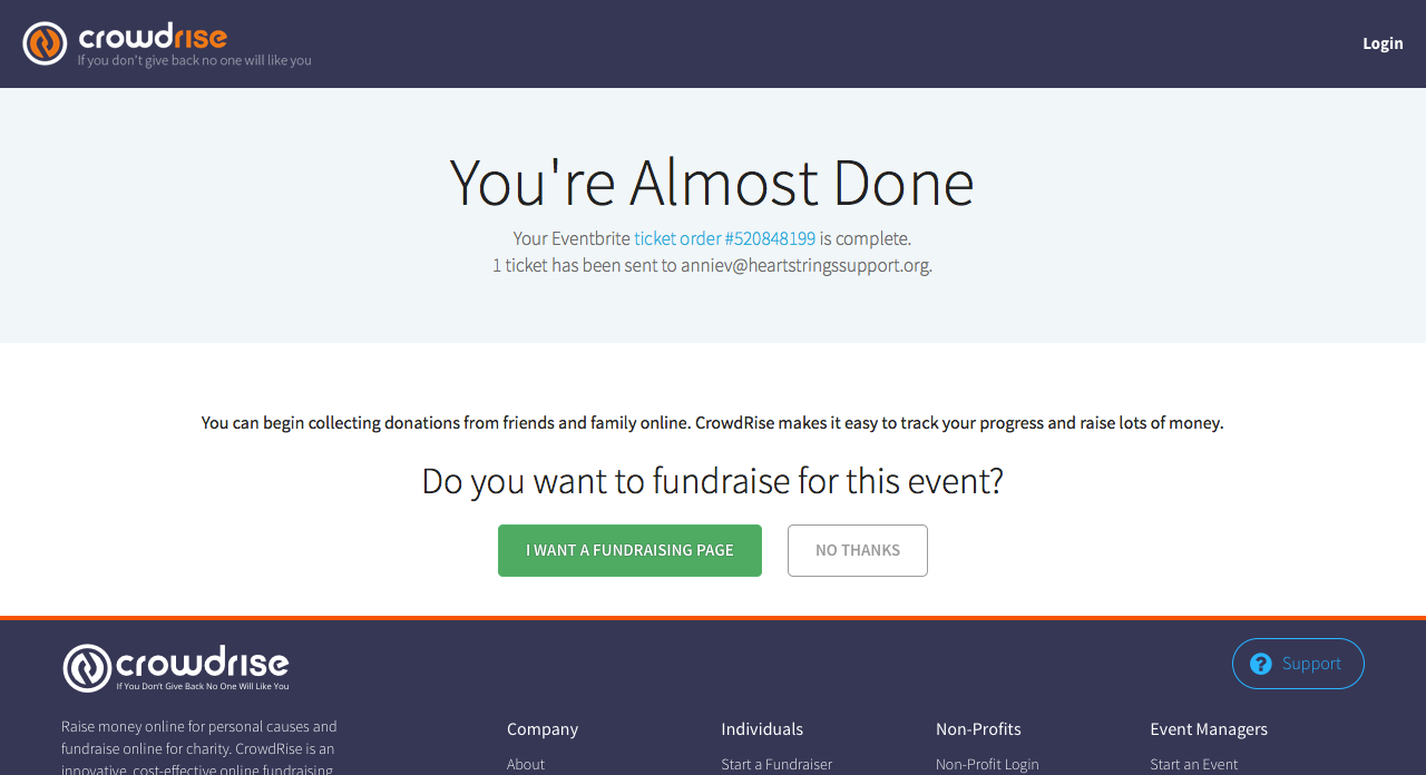 """Step 3 - Fundraising setup. While your ticket registration is complete, you now have the opportunity to set up a fundraising page related to the event. Choose """"I want a fundraising page"""" to set up your own site which you can customize and share to help Heartstrings raise mission-supporting funds. Help us change the outcome of loss!"""