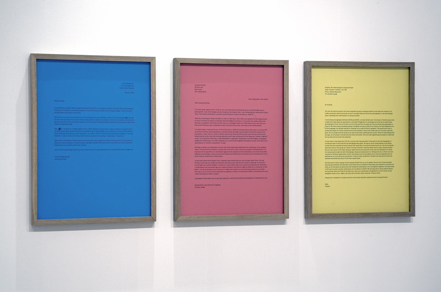 """Searching for Jacques Butler"" triptych, digital print on colored paper, each 65,5 x 48 cm.  Read"