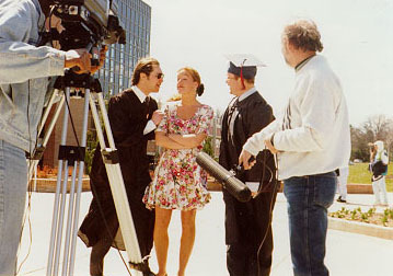 """On location, atthe campus of Western Michigan University,for the second scene in the 1995 feature-length movie, """"The Knight of Day""""."""