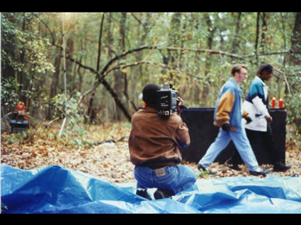 Camera operator, David Evans, shoots behind-the-scenes footage of the set in Jones, Michigan.