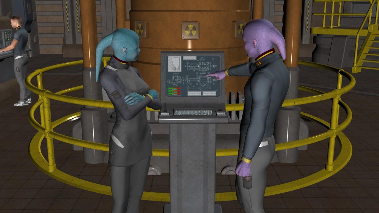 Two Shinji tend to the Communications Conduit