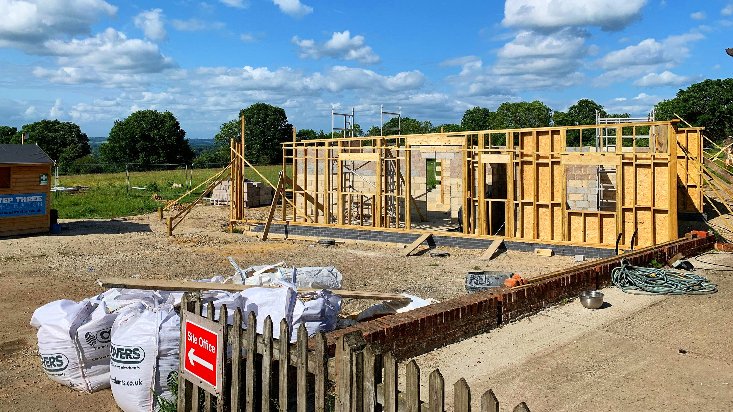 Timber frame being erected