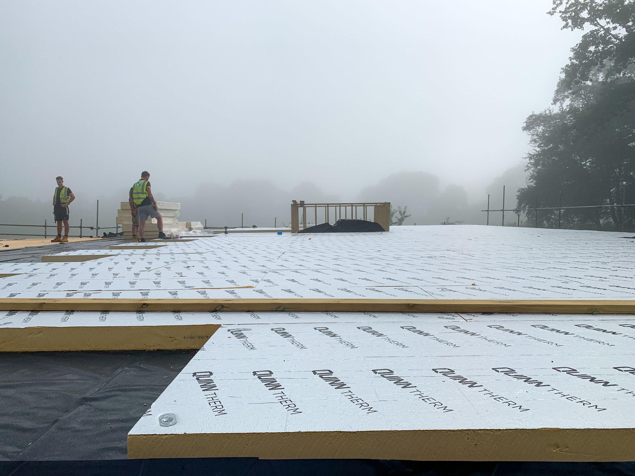 Refreshing morning mist on site