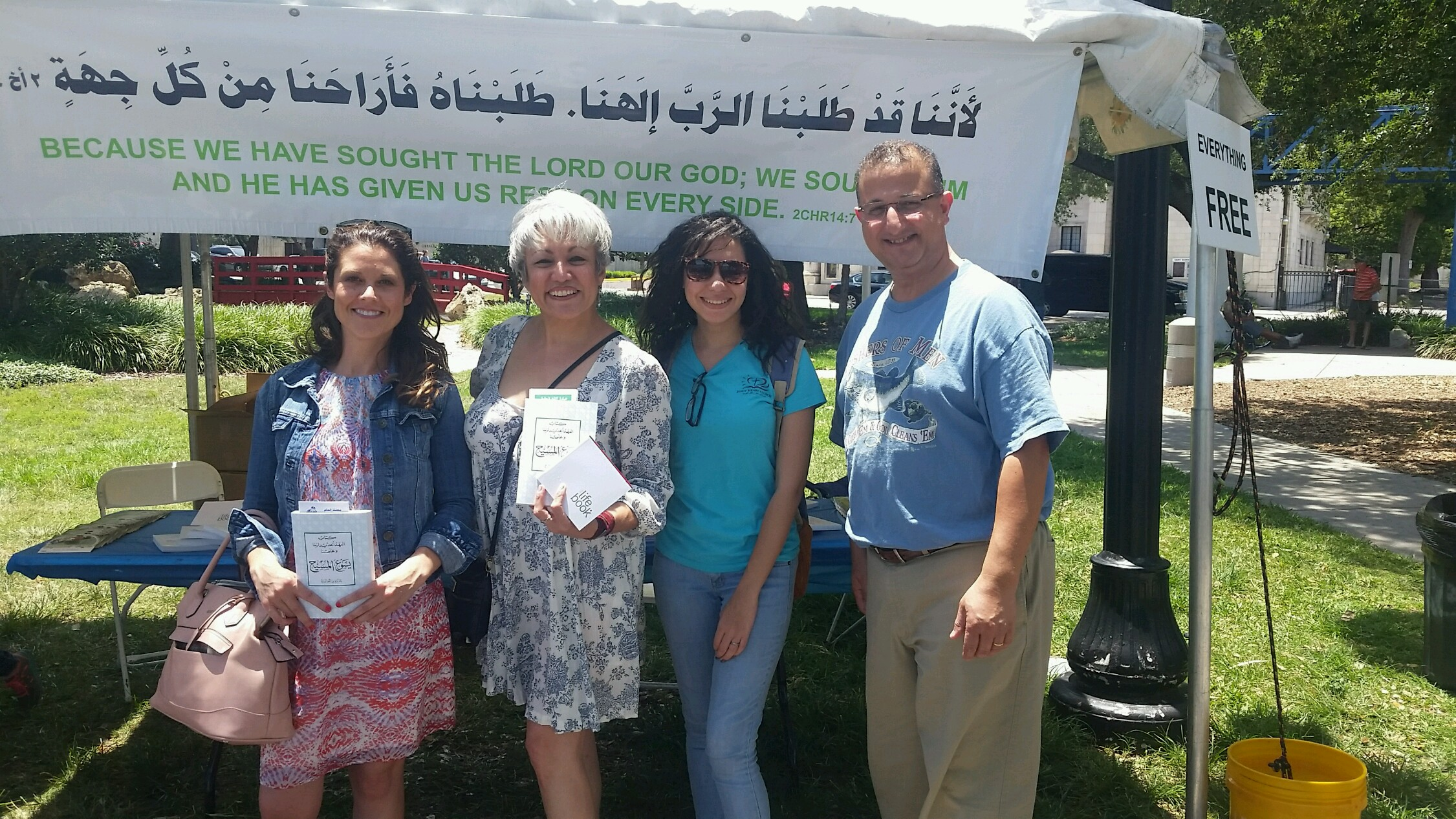 Kristen and Sonly holding Arabic New Testaments. Olivia, member of Jesus' Heart church and official Arabic instructor of Team Egypt.   Shokran gidden!
