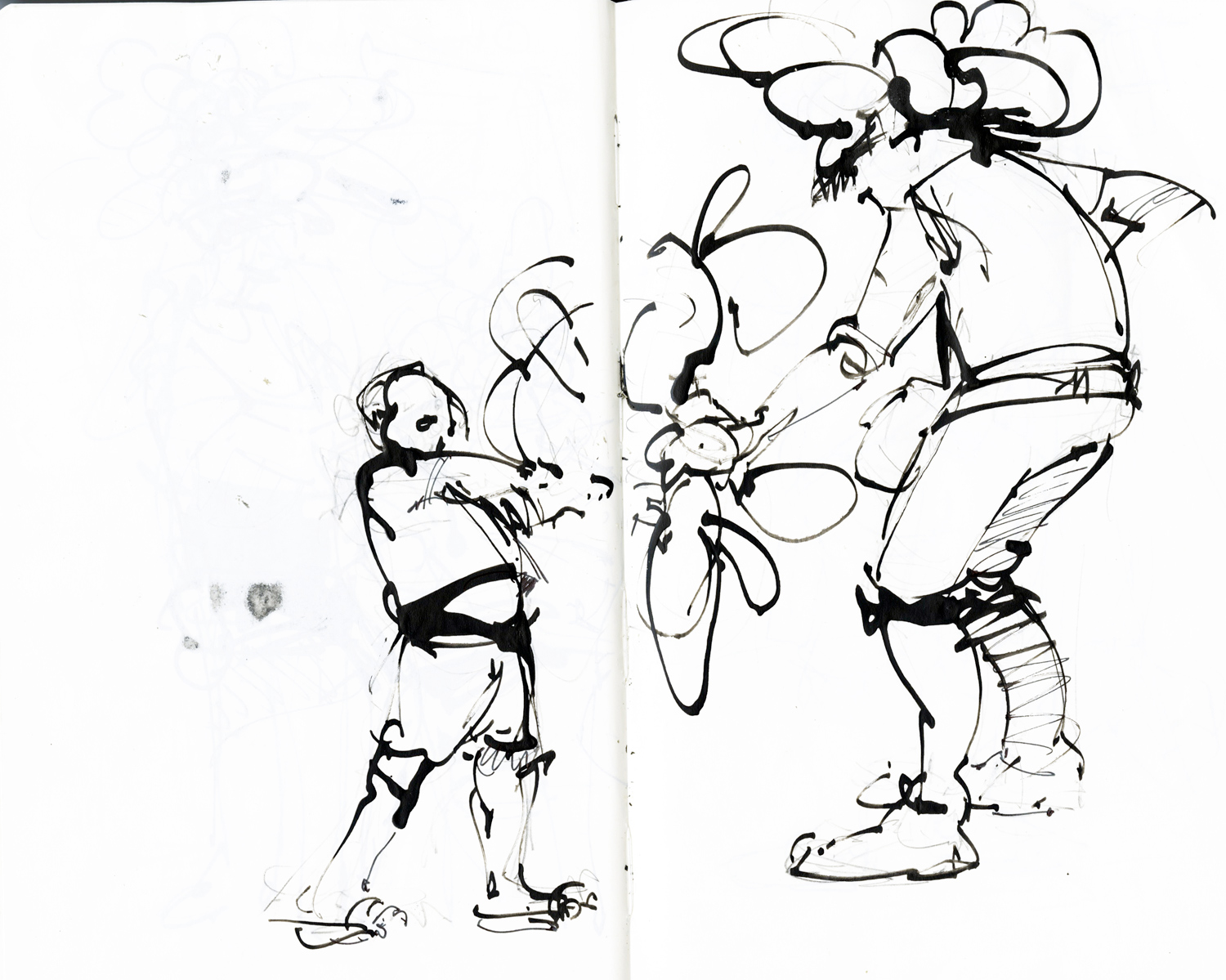 A very cranky kid trying to take a balloon animalfrom a very hot and tired street performer.