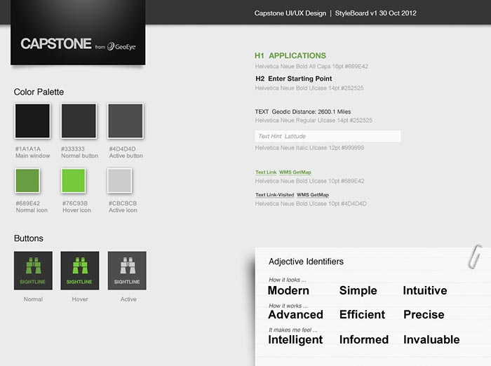 "The initial ""styleboard"" for the new Capstone UI."