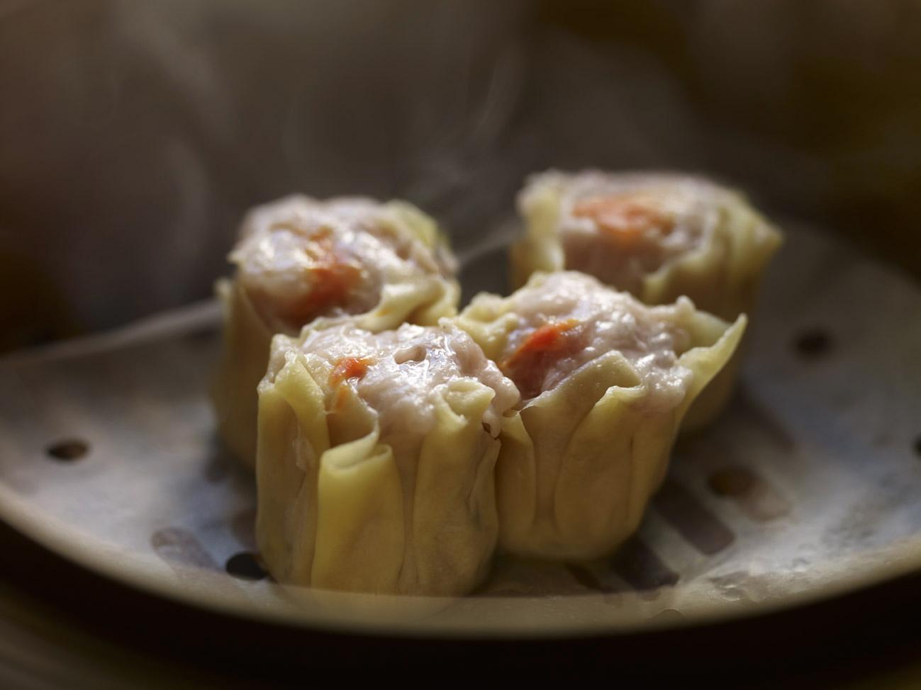 Cantonese pork and prawn siu mai dim sum in steamer