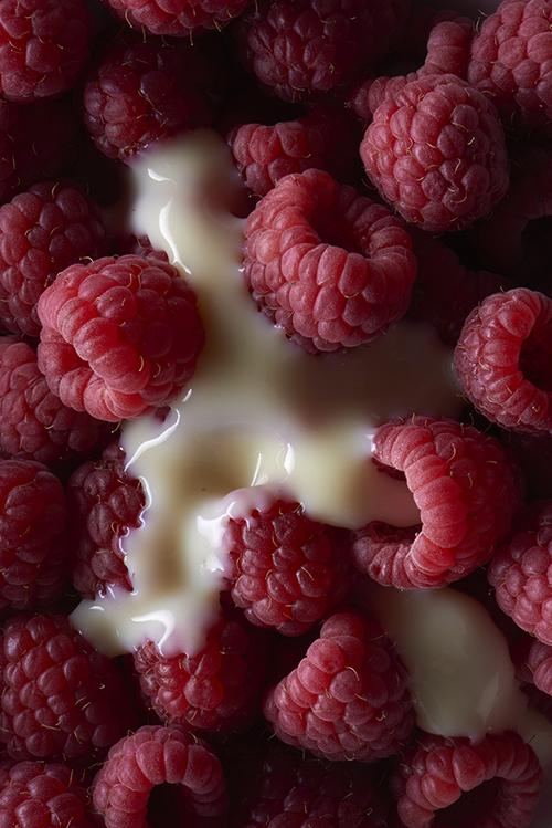 Raspberries and custard