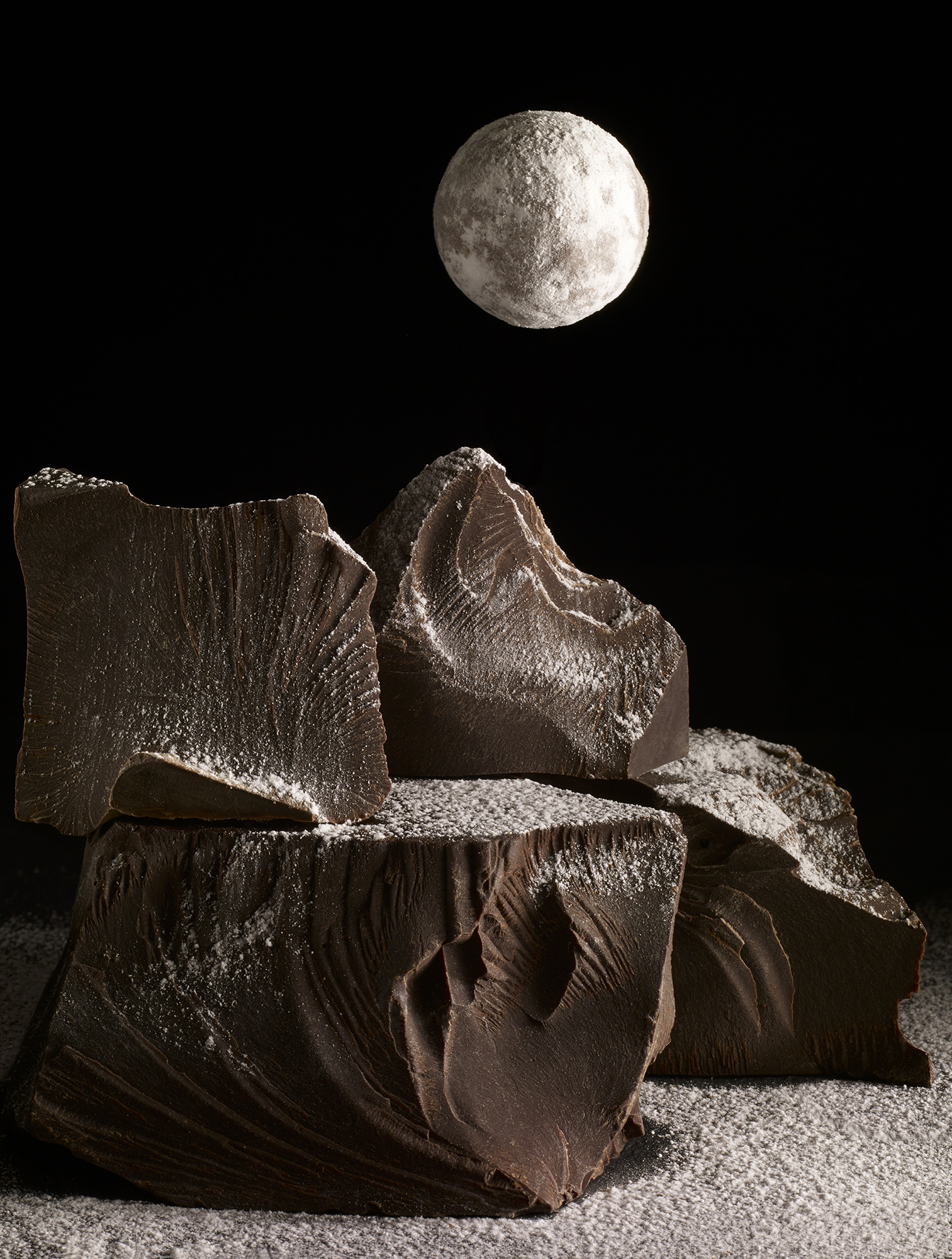 Chocolate landscape with Charbonnel & Walker chocolate truffle moon