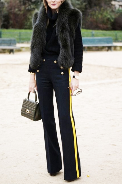 How to wear sailor pants with a racing stripe + a fur vest without looking ridiculous. SHOP THE LOOK