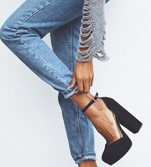 Try a Killer Pair of Ankle Strap Platform Pumps With Boyfriend Jeans. SHOP THE LOOK