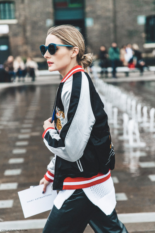 Try a bomber jacket over black leather culottes and over a split hem sweater.  SHOP SIMILAR ITEMS :    JACKET  |  SWEATER  |  SUNGLASSES  |  CULOTTES    source:  www.tumblr.com