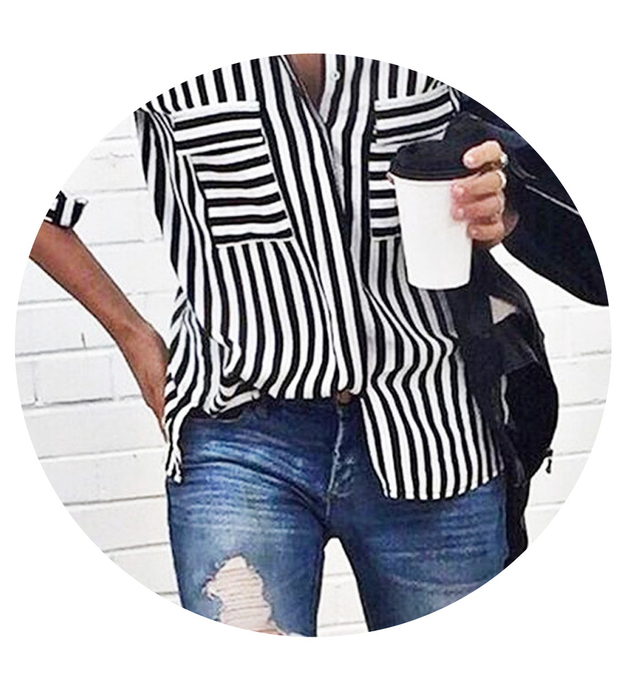 Go with a striped shirt tucked into one side and layered jewelry.