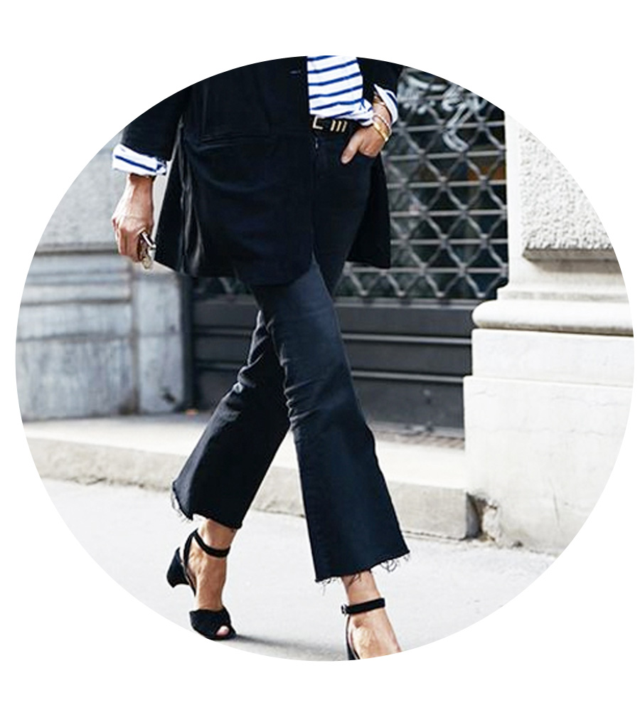 Pair kick flare jeans with ankle strap sandals and a blazer.