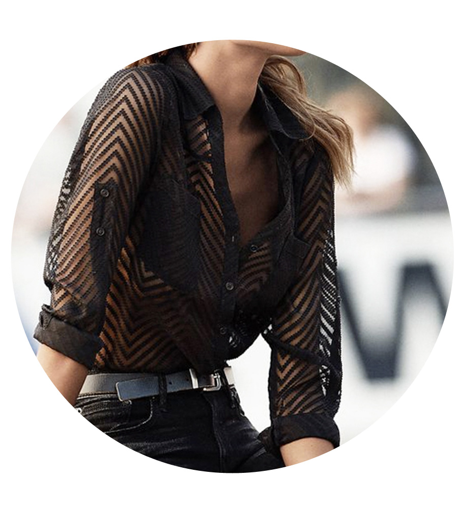 A sheer chevron print shirt works with skinny or flare leg jeans for drinks.