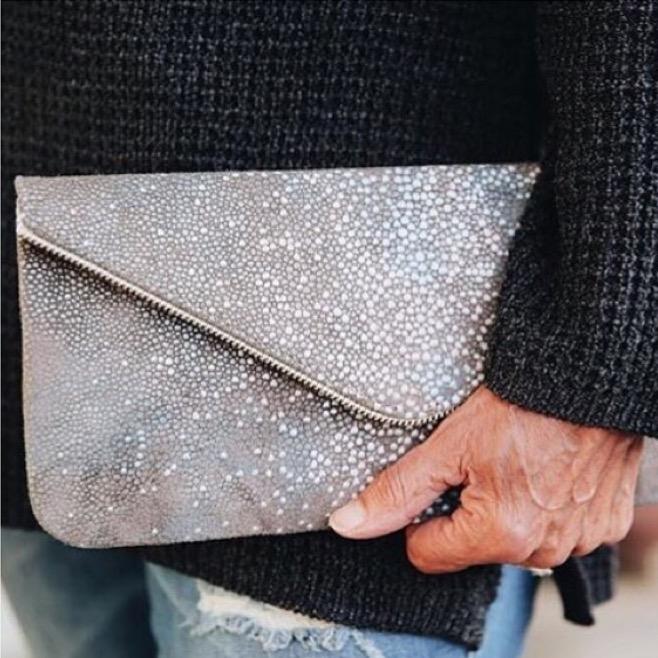 Charcoal Zipper Clutch