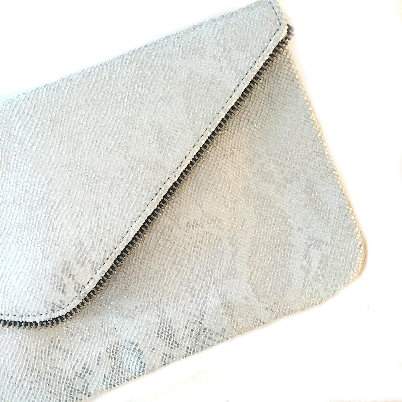 Pearl Boa Zipper Clutch