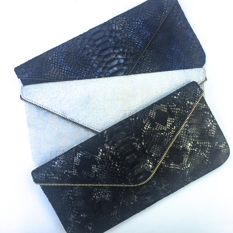 Zipper Clutch in Midnight Sky, Pearl Boa + Carbon Boa Embossed Leather Design