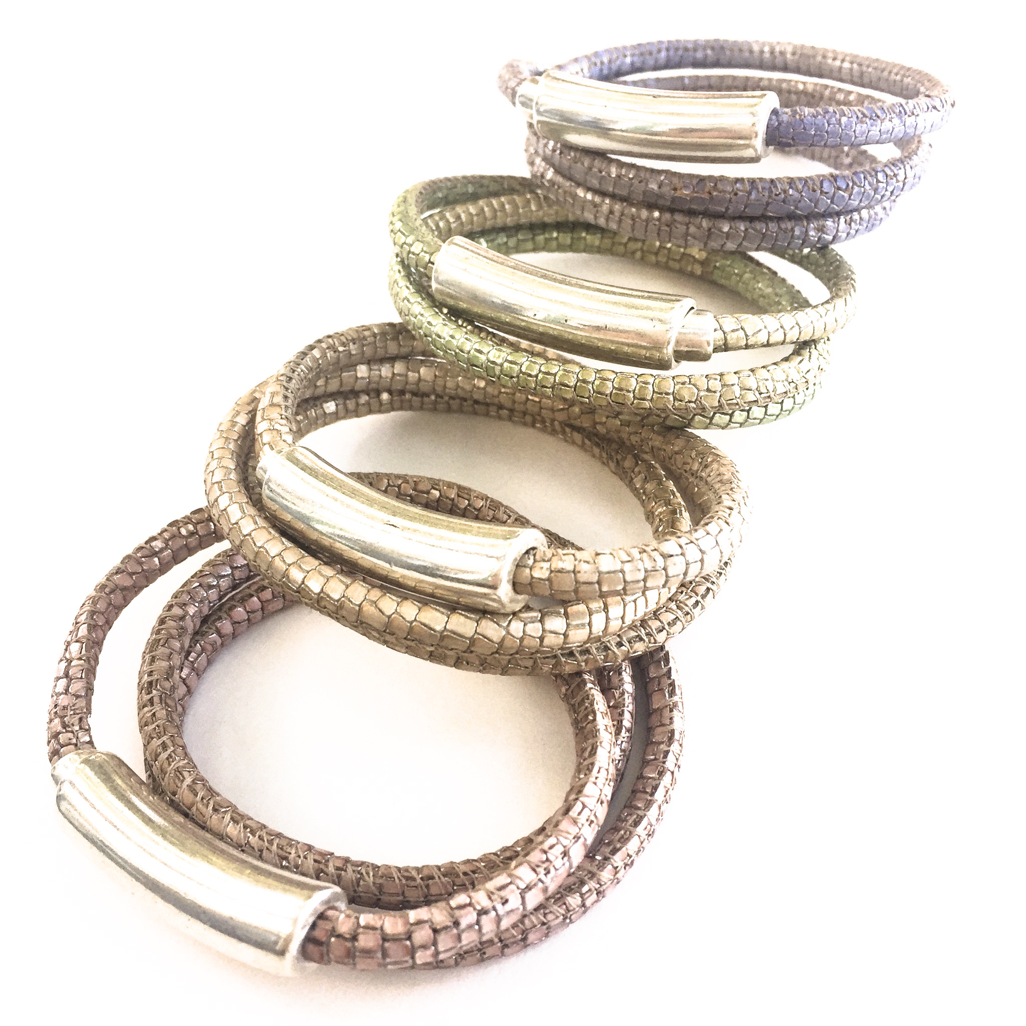 NEW Metallic Leather Wrap Bracelet