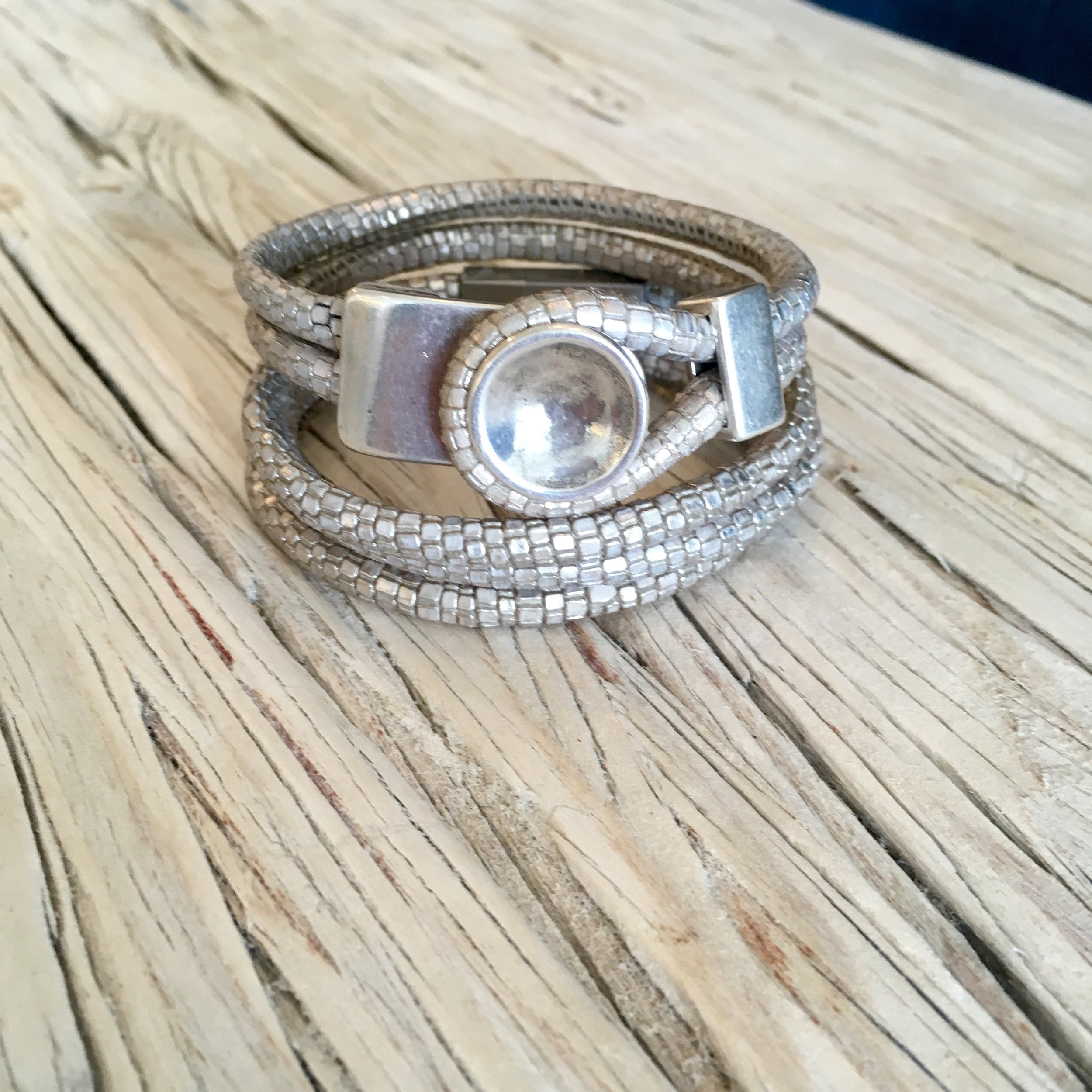 Silver Metallic Leather Button + Three Strand Bracelet