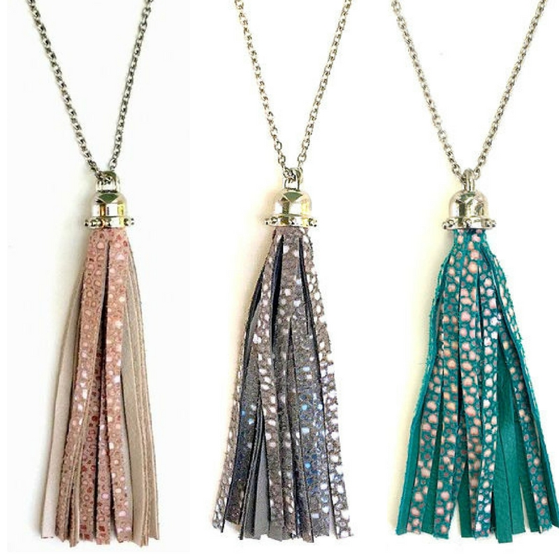 Embossed Leather Tassel Necklace in Stone, Charcoal, + Oceana